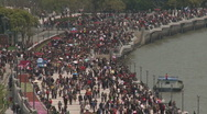 Stock Video Footage of Shanghai Bund teleshot of the crowded bund from above