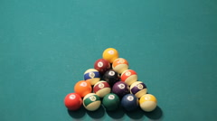 Pool Game Start Shot Top View (HD) Stock Footage