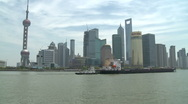 Shanghai Pudong and Huangpu river boat passing Stock Footage