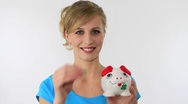 Woman with piggy bank Stock Footage
