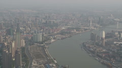 Shanghai Bund large aerial view of the city from World Financial Center - stock footage