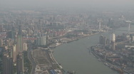 Shanghai Bund large aerial view of the city from World Financial Center Stock Footage