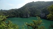 Stock Video Footage of Land Locked Lagoon, Aerial View Of Mu Ko Ang Thong, Exotic Island, Thailand