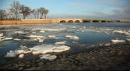 Kronverksky strait ice-field, Troitsky bridge Stock Footage