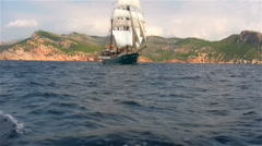 Sailing ship Atlantis, Majorca, Spain Stock Footage