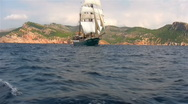 Stock Video Footage of Sailing ship Atlantis, Majorca, Spain