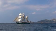 Sailing ship Atlantis, Majorca, Spain - stock footage