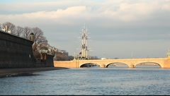 Neva, water, Troitsky bridge Stock Footage