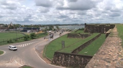 Stock Video Footage of Grass-clad walls of fort
