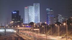 Night timelapse in tel aviv Stock Footage