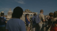 Tourists looking at Ancient City in Rome Stock Footage