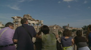 Stock Video Footage of Spectators at the Ancient City, Rome (glidecam)