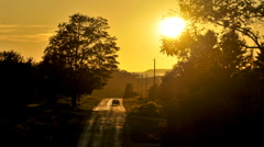 Rural road sunset Stock Footage