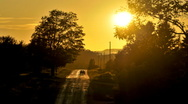 Stock Video Footage of Rural road sunset