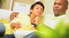 African-American Couple Relaxing at Home Stock Footage