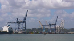 Commercial Docks Cranes - stock footage