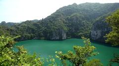 Land Locked Lagoon, Aerial View Of Mu Ko Ang Thong, Exotic Island, Thailand Stock Footage