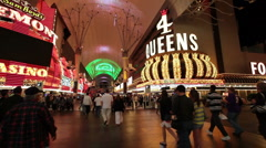 Freemont Street tourists timelapse fast HD 9242 Stock Footage
