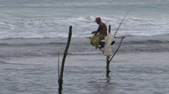 Sri Lanka, pole fishers Stock Footage