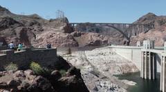 Hoover Dam pan across Lake Mead P HD 9299 Stock Footage