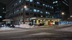 Montreal winter street & urban traffic time lapse Stock Footage