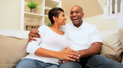 African-American Couple Using Interactive Technology Stock Footage