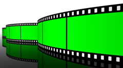 Green screen Film roll strip filmstrip reel cinema projection camera Stock Footage