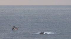 Fishingboat in sea Stock Footage