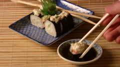 Nori Sushi Dish (HD) Stock Footage