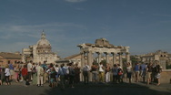 Glidecam towards overlook of Rome Ancient City Stock Footage