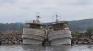 Stock Video Footage of Fishingboats in harbor