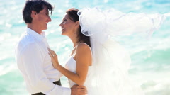 Happy Couple After Beach Wedding Stock Footage