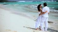 Loving Couple on Paradise Island Beach Stock Footage