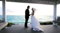 Caucasian Couple's Paradise Island Wedding Stock Footage