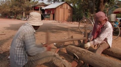 Cambodia: Sawing by Hand Stock Footage