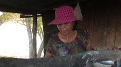 Cambodia: Making Rice Noodles Stock Footage