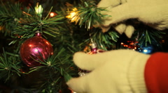 Christmas Tree Ornament Placement (HD) - stock footage