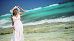 Young Female Enjoying a Peaceful Island Lifestyle - stock footage