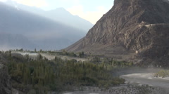 Skardu town and Indus river Stock Footage