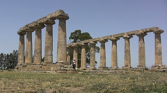 Italy Temple of Hera at Metapontum - stock footage