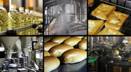 Food industry multiscreen Stock Footage