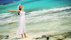 Caucasian Female Revelling in Island Lifestyle - stock footage