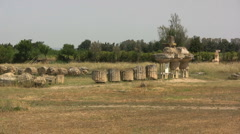 Ruined temple at Metapontum Italy Stock Footage