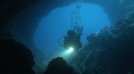 Stock Video Footage of Diver in a cave