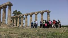 Tourists at Metapontum Temple of Hera Stock Footage