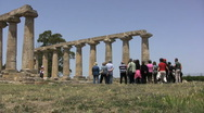 Tourists at Metapontum Temple of Hera Stock Footage