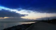 Blue sky and calm sea near rocks. Stock Footage