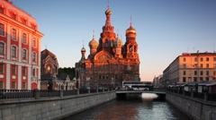 Church of Savior on Spilled Blood at channel St. Petersburg Stock Footage