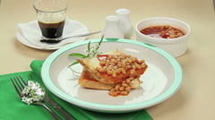 Egg On Baked Beans Stock Footage