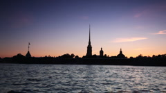 Petropavlovskaya Fortress and Neva River in white nights - stock footage